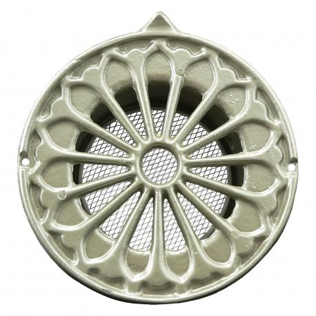 Grilă de ventilație din aluminiu cu flanșă și plasă anti-insecte Ø 150 mm, gri